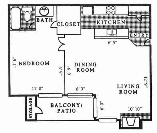 600 sq. ft. A1 PH B floor plan