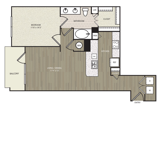 833 sq. ft. A28 floor plan