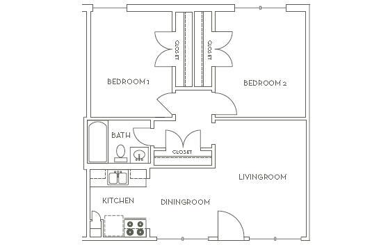 691 sq. ft. B1 floor plan