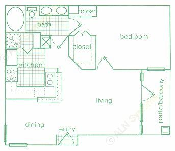730 sq. ft. A1 floor plan