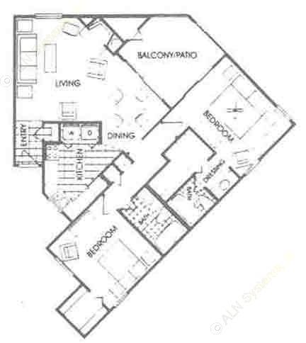 1,056 sq. ft. B2 floor plan