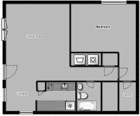 650 sq. ft. to 750 sq. ft. floor plan