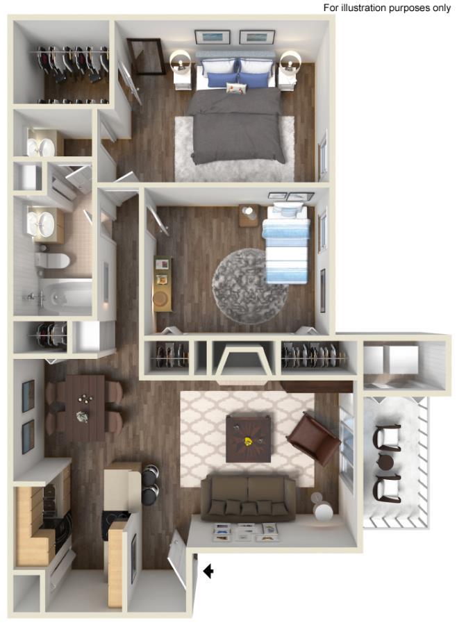 899 sq. ft. E floor plan