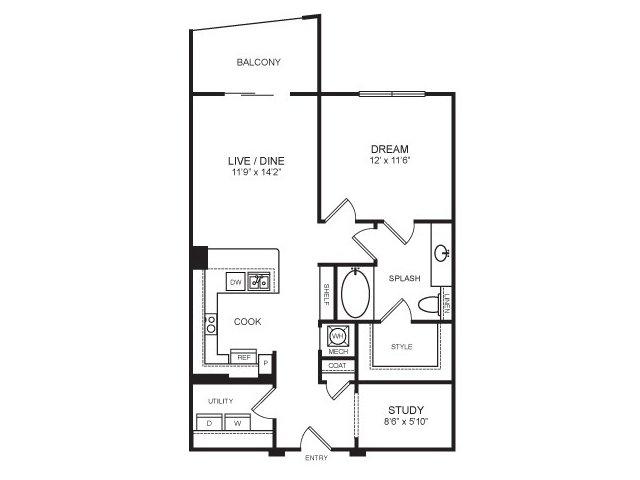 870 sq. ft. Cowboy floor plan