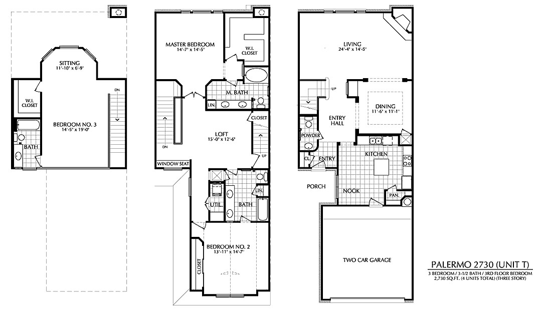 2,730 sq. ft. T floor plan
