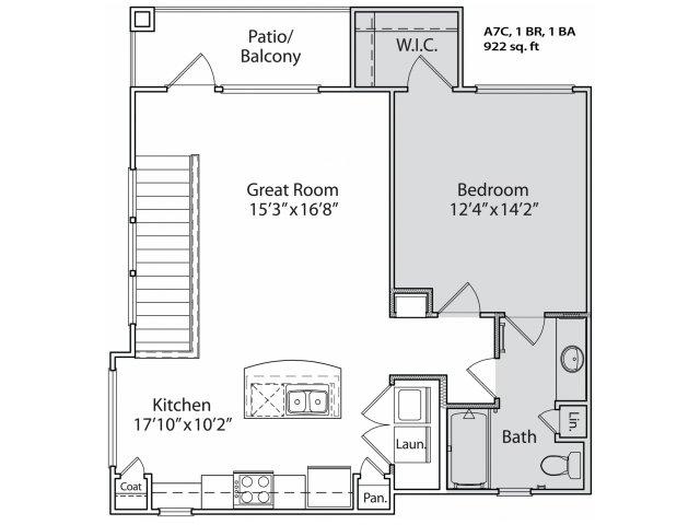 709 sq. ft. A6 floor plan