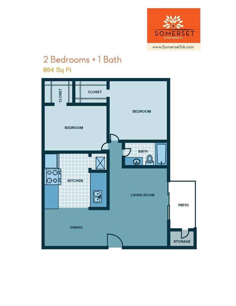 864 sq. ft. to 964 sq. ft. floor plan