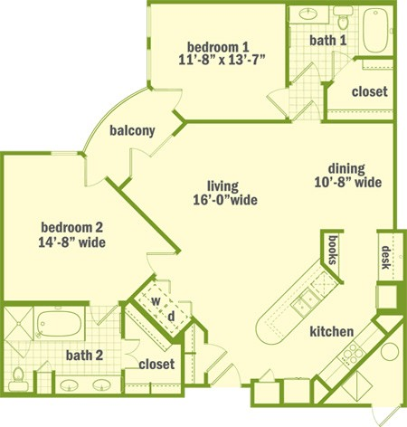 1,324 sq. ft. B3 floor plan