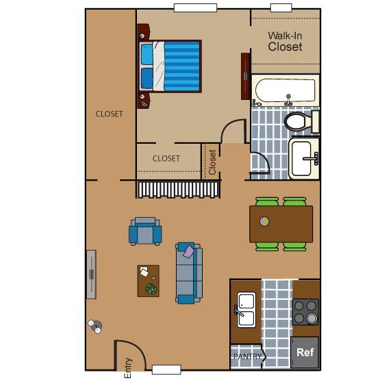 689 sq. ft. AD5 floor plan