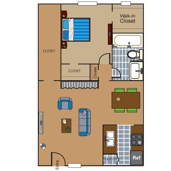 689 sq. ft. AD5 floor plan