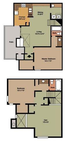 1,380 sq. ft. C1 floor plan
