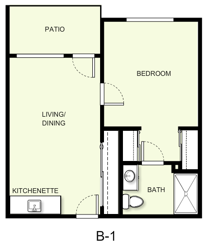 549 sq. ft. B1 floor plan