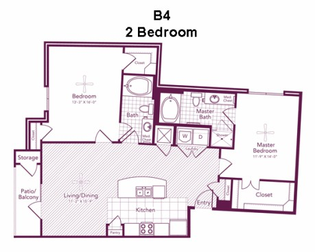 1,205 sq. ft. PECKHAM floor plan