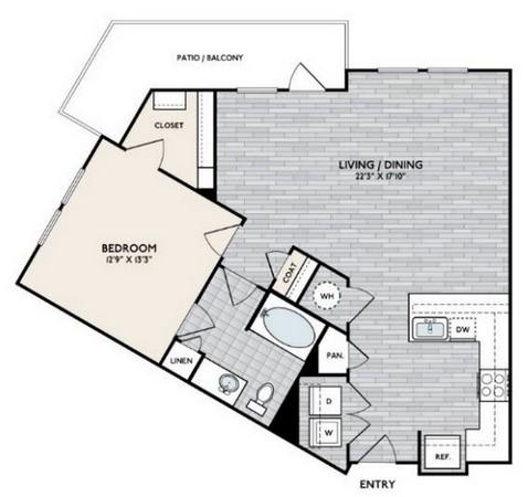 865 sq. ft. A7 floor plan