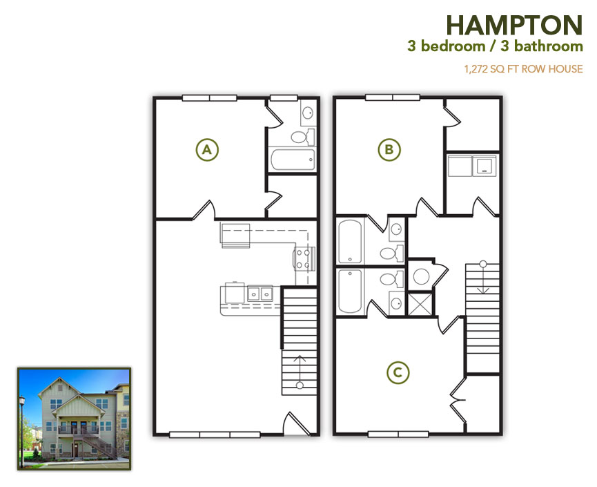 1,272 sq. ft. Hampton Flat floor plan