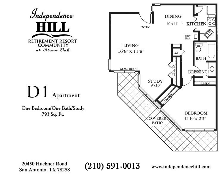 793 sq. ft. D1 floor plan