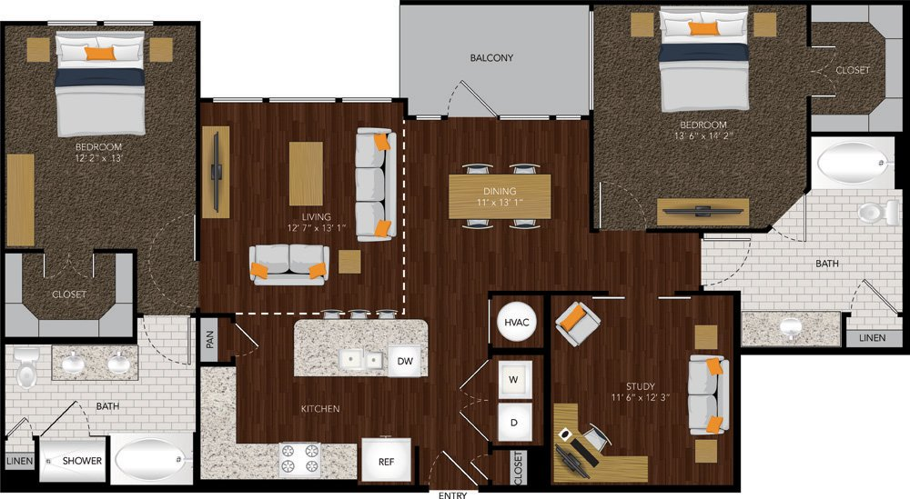 1,404 sq. ft. B2 floor plan