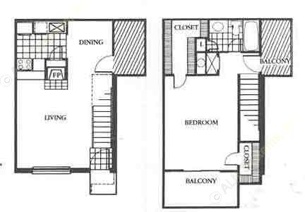 795 sq. ft. Contemporary floor plan