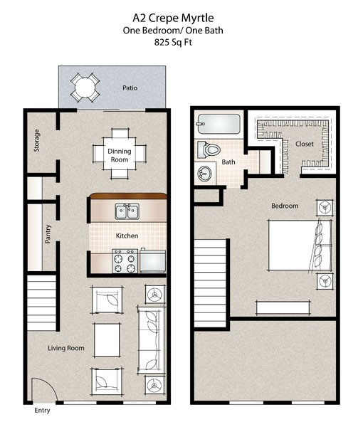 825 sq. ft. Crepe Myrtle floor plan