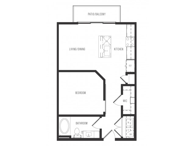 597 sq. ft. E1 floor plan