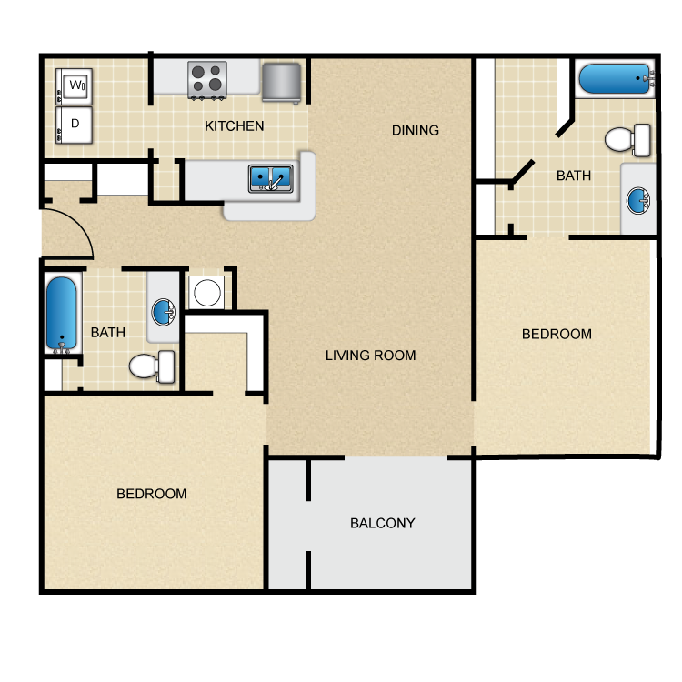 1,130 sq. ft. floor plan