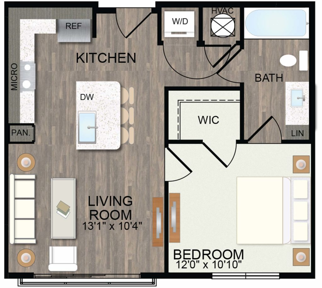 607 sq. ft. Dogwood floor plan