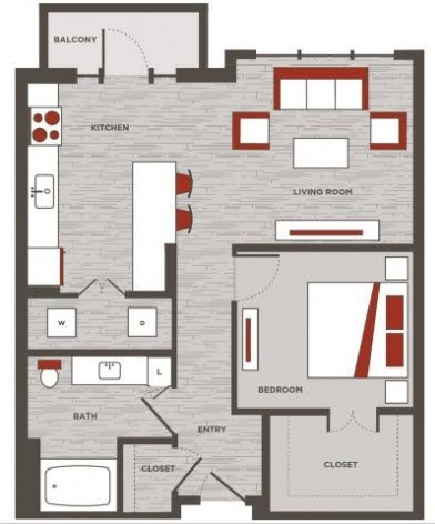 768 sq. ft. A4 floor plan