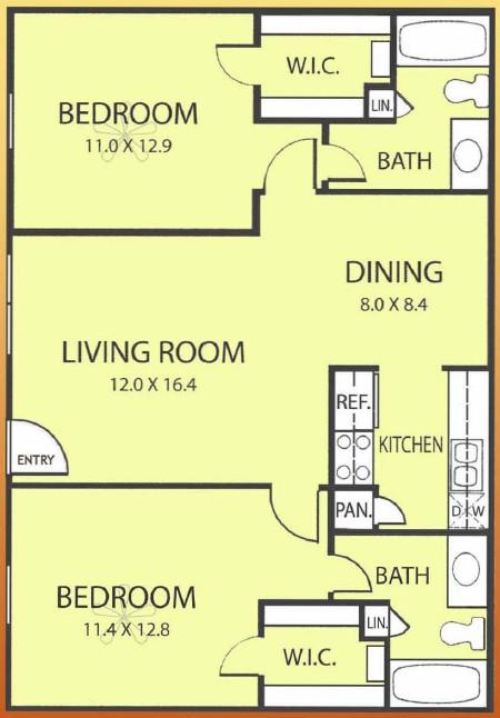 918 sq. ft. MAPLE floor plan