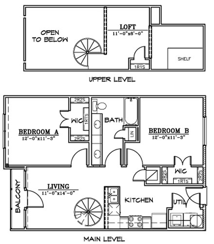 901 sq. ft. B3L floor plan
