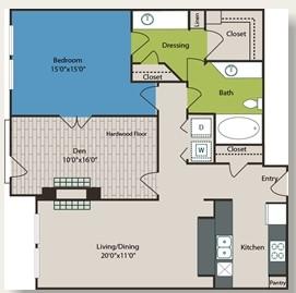 1,022 sq. ft. B2 floor plan