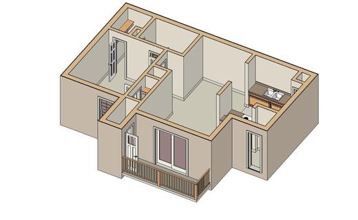 558 sq. ft. A-1 floor plan