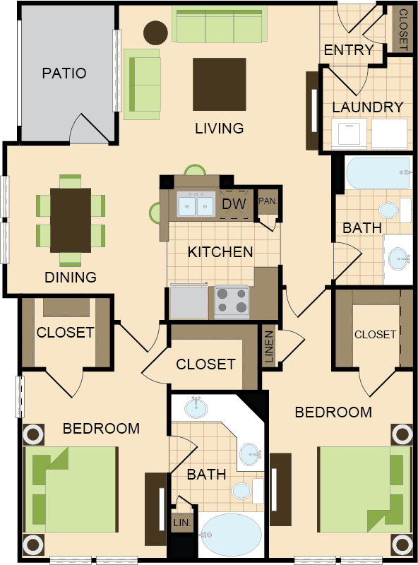 1,138 sq. ft. D floor plan