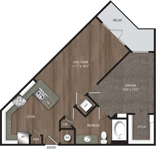 767 sq. ft. A3 floor plan