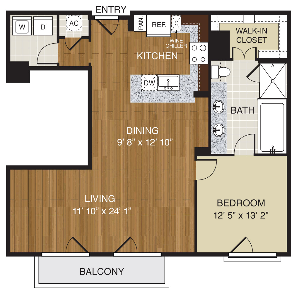706 sq. ft. A2.1d floor plan