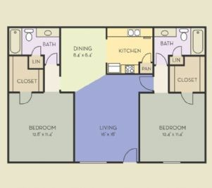 1,014 sq. ft. B7 floor plan