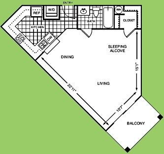 595 sq. ft. Studio floor plan