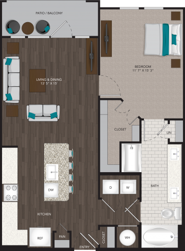 829 sq. ft. A4A floor plan