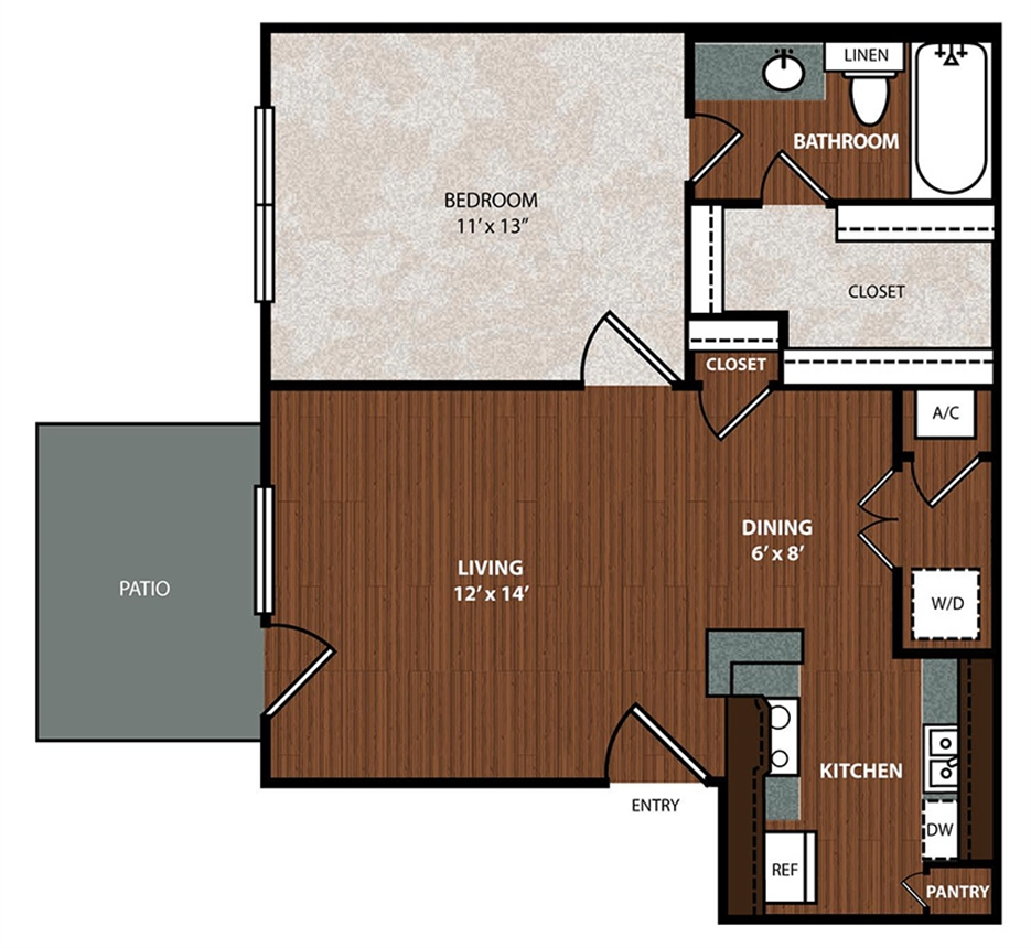 591 sq. ft. A3 floor plan