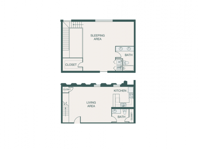 1,165 sq. ft. W floor plan