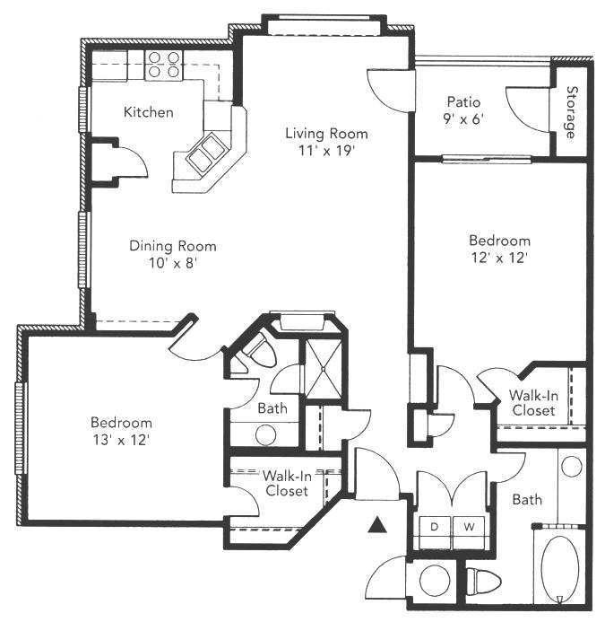 1,062 sq. ft. Colonial floor plan