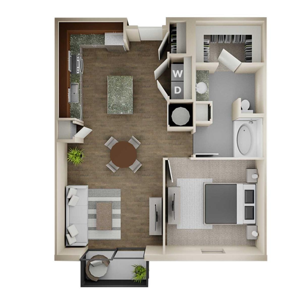 796 sq. ft. 1B floor plan