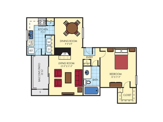 674 sq. ft. Highland (A1) floor plan