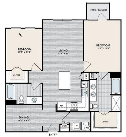 1,218 sq. ft. B4-1 floor plan