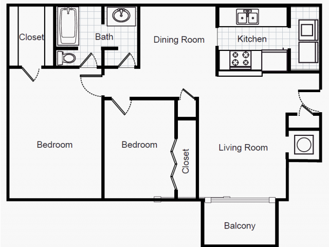 941 sq. ft. B1/50% floor plan