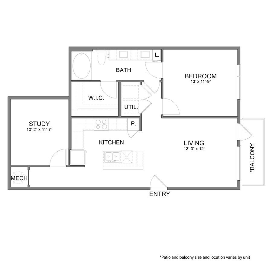 923 sq. ft. A8 floor plan