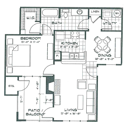 764 sq. ft. A2 floor plan