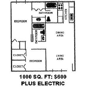1,000 sq. ft. CJ floor plan