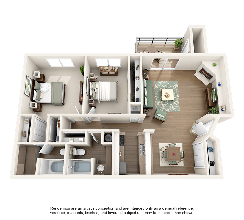 1,065 sq. ft. 2C floor plan