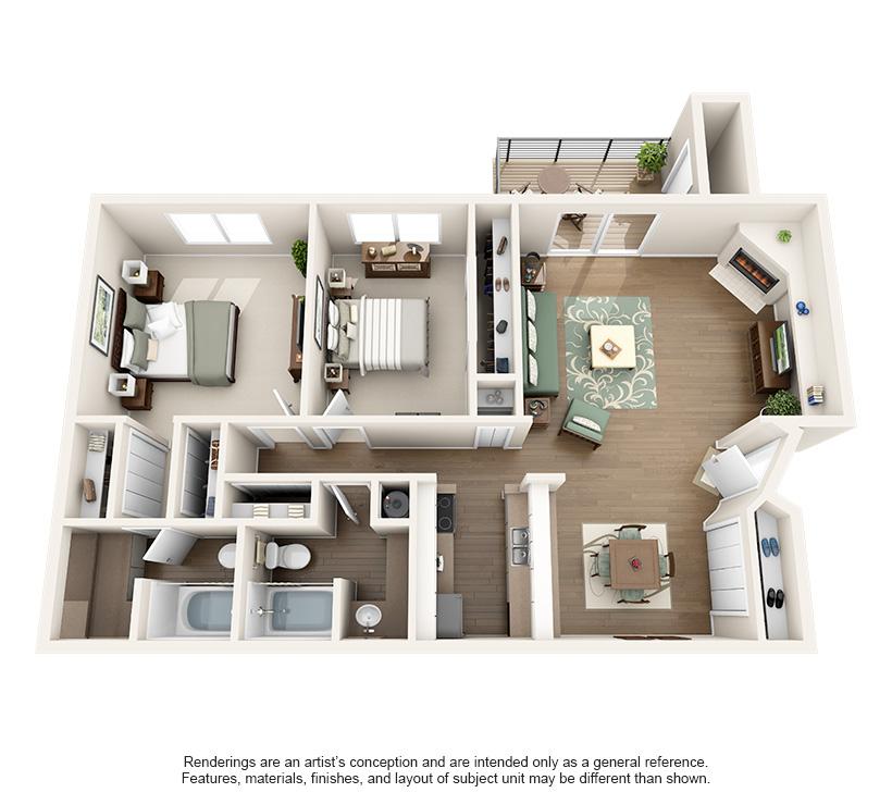 1,065 sq. ft. 2C floor plan