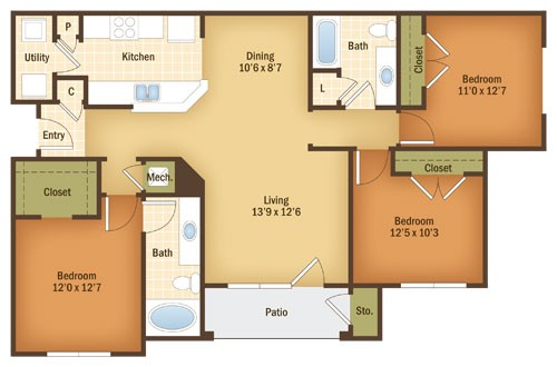 1,336 sq. ft. MAGNOLIA floor plan
